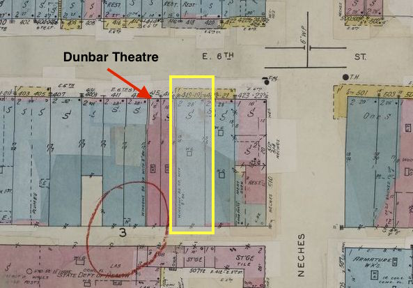 Dunbar Theatre highlighted on map