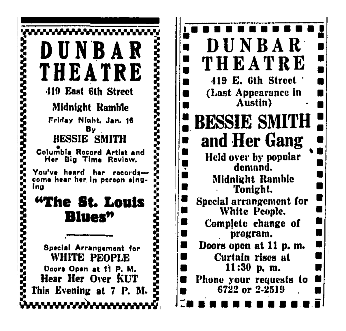 two ads for Bessie Smith's performance