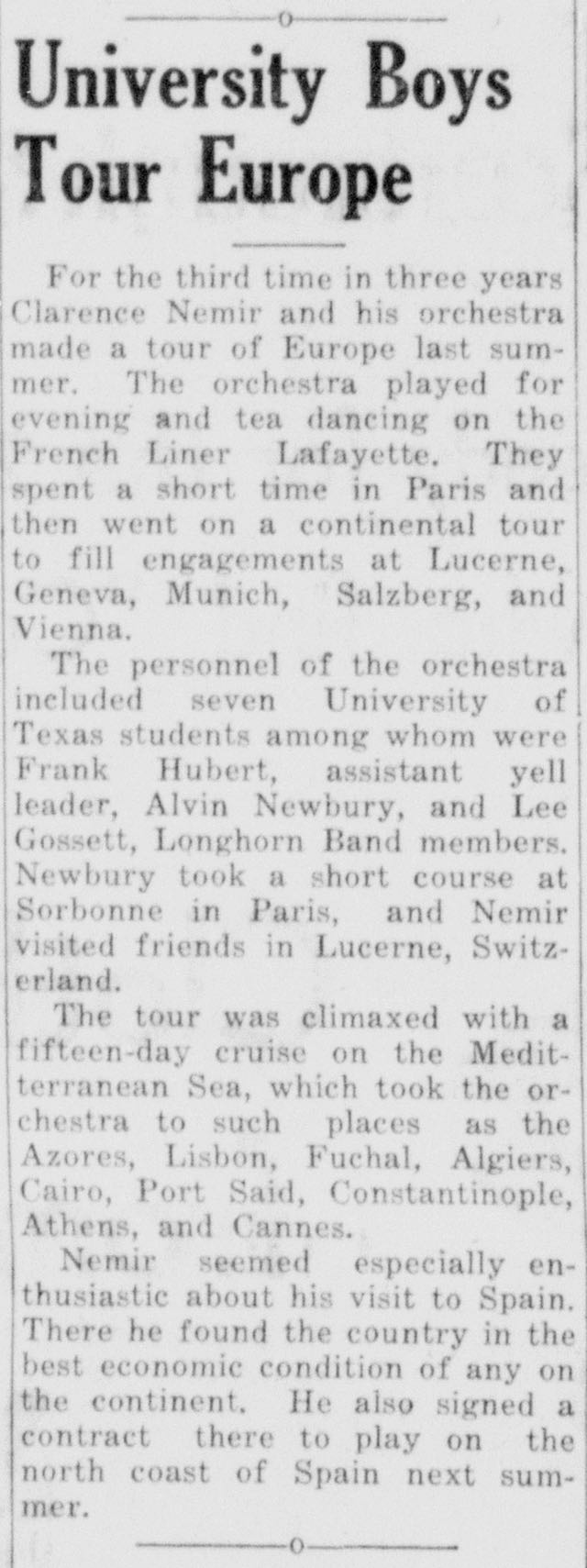 Newspaper clipping about the Clarence Nemir tour