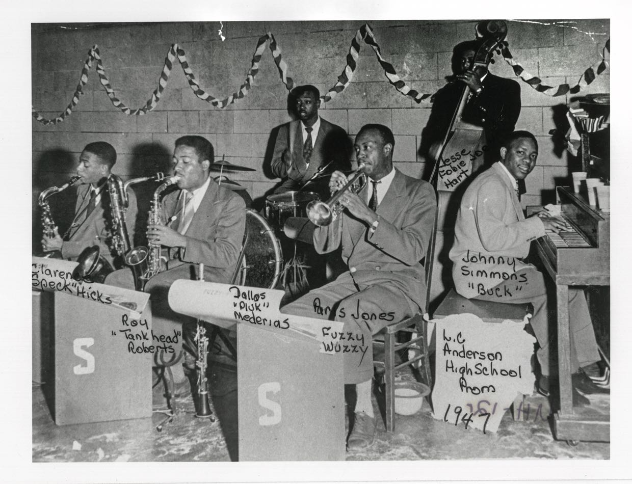 Johnny Simmons and his band at Anderson High School Prom, 1947