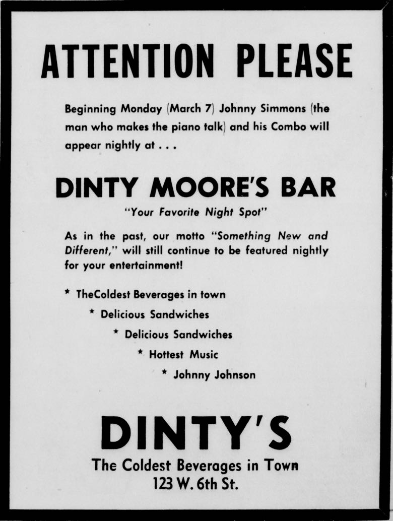 Advertisement for Johnny Simmons at Dinty Moore's Bar