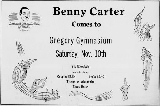 Advertisement for Benny Carter performance at Gregory Gym