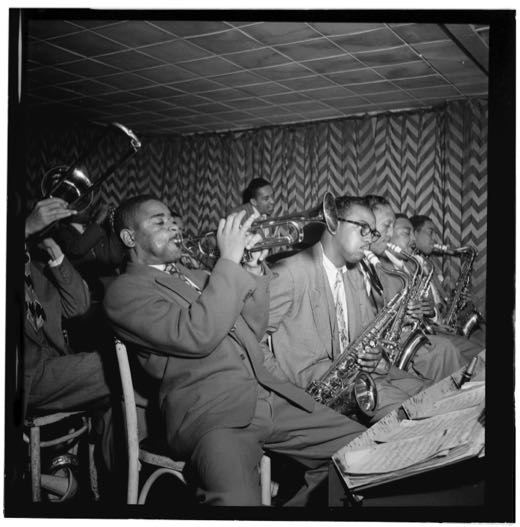 Portrait of James Moody and Dizzy Gillespie