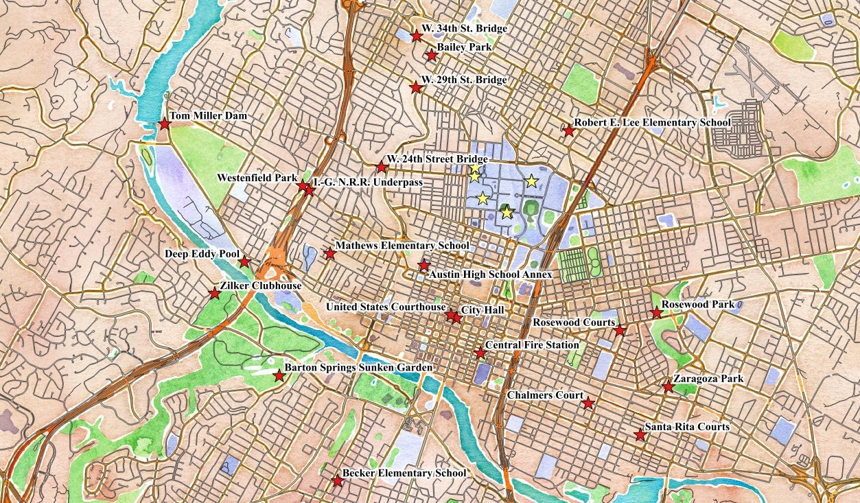 Map of New Deal buildings in Central Austin