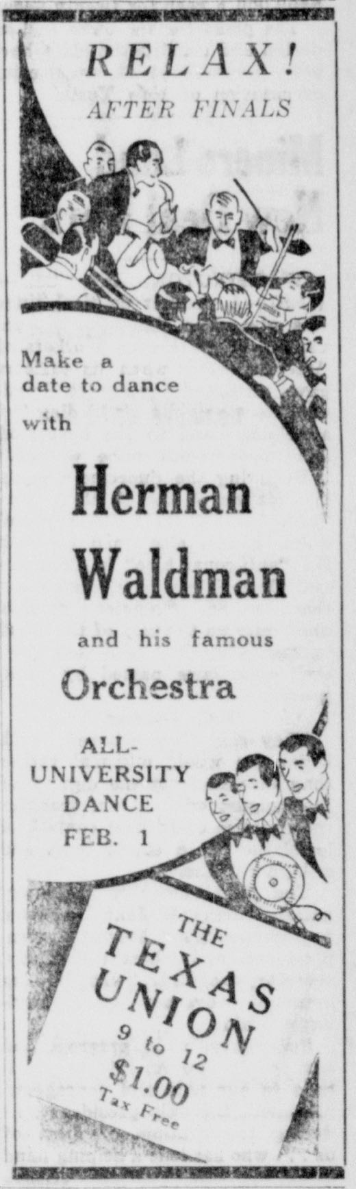 Advertisement for Herman Waldman dance